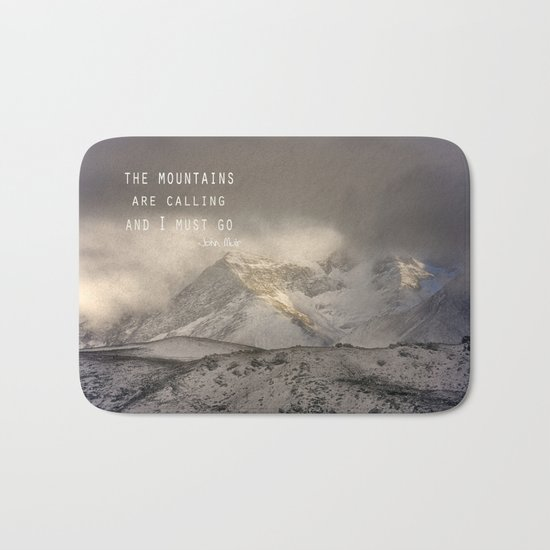 The Mountains are calling, and I must go.  John Muir. Vintage. Bath Mat
