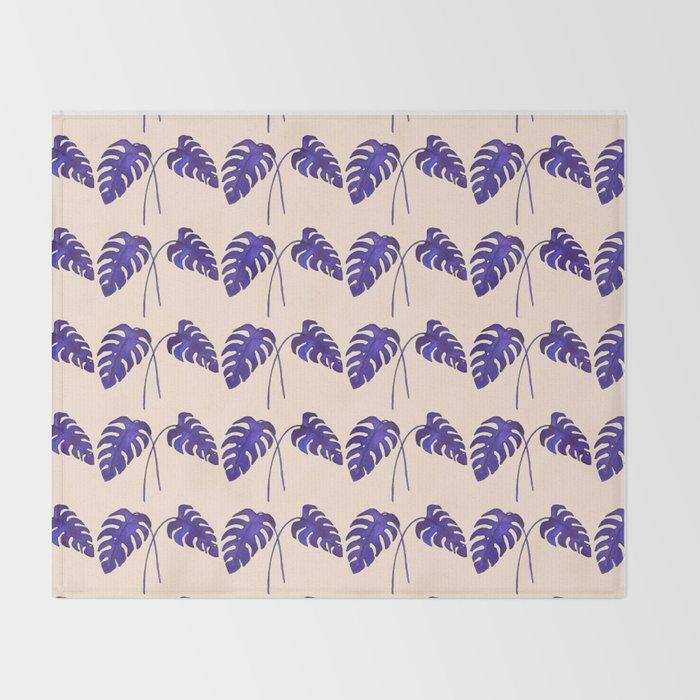 Indigo Monstera Leaf Watercolor on Blush Throw Blanket