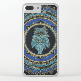Blue Moon Owl Clear iPhone Case