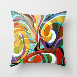 Colorful Abstract Whirly Swirls - V1 Throw Pillow