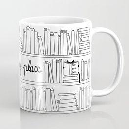 Books, cats and tea : my happy place ! Coffee Mug