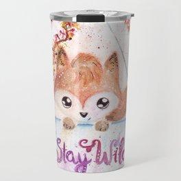 Cute Fox Stay Wild Quote Illustration Travel Mug