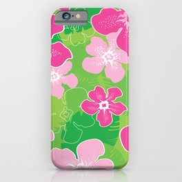 Pink and Green Hawaiian pattern iPhone Case