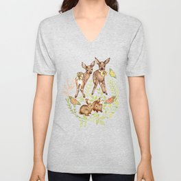Whimsical Forest Fawns & Rabbits  Unisex V-Neck