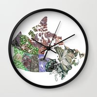 canada Wall Clocks featuring Canada by minouette
