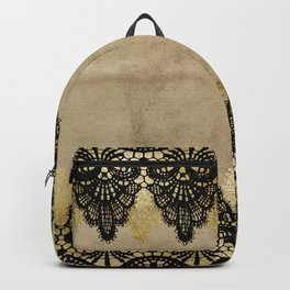 Elegance- Ornament black and gold lace on grunge paper backround Backpack