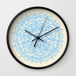 Pale Blue Pencil Pattern - hand drawn lace mandala Wall Clock