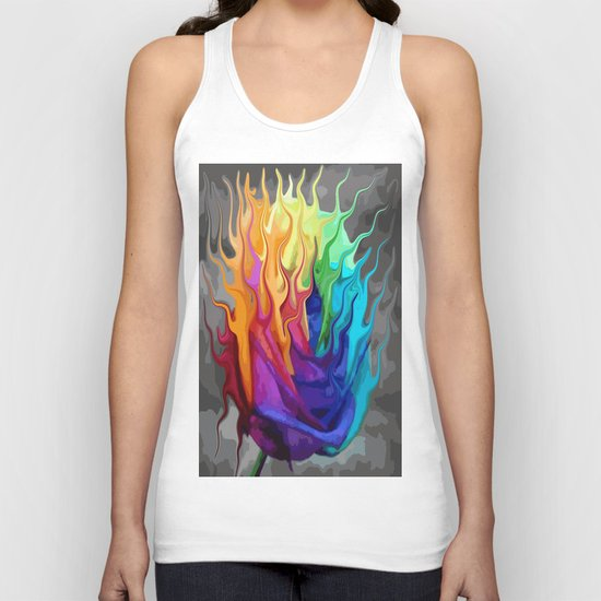 colorful flaming flower Unisex Tank Top