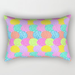 Scalloped Scallops Shells in Rainbow Rectangular Pillow