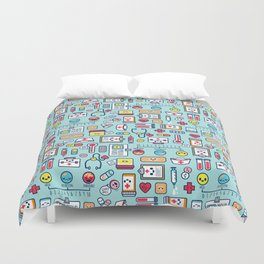 Proud To Be a Nurse Pattern / Blue Duvet Cover