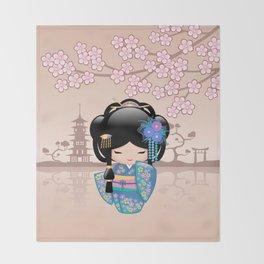 Japanese Keiko Kokeshi Doll Throw Blanket