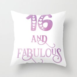 Girls 16 Years Old And Fabulous Girl 16th Birthday design Throw Pillow