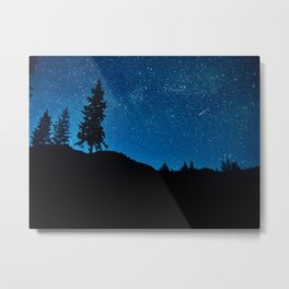 Amazing Blue Ombre Night Sky With Tree Silhouette Metal Print