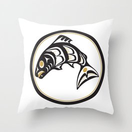 Northwest Pacific American Native Totem In Gold No. 1 Throw Pillow