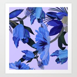 Tulips in purple light. Art Print