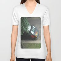 70s V-neck T-shirts featuring Smokin'! ~ 70s-ish van by helene smith photography
