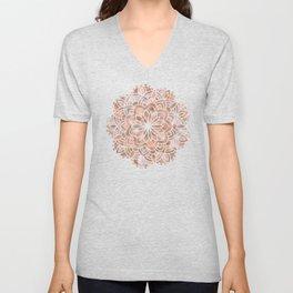 Mandala Rose Gold Flower Unisex V-Neck