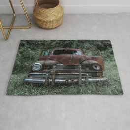 Rust Covered Classic Car Abandoned in Forest Rug