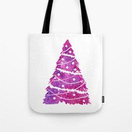 Pink Christmas Tree, Merry Christmas Card Tote Bag