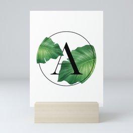 Monogram Leafs - Letter A Mini Art Print