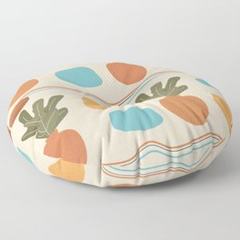Artistic modern terracotta art print pattern with organic shapes, rainbows and graphic elements design Floor Pillow