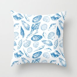 Tropical underwater creatures in blue and white Throw Pillow