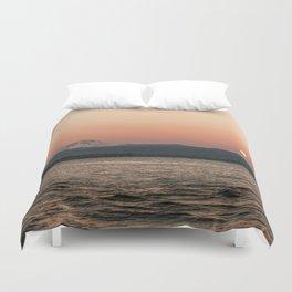 Mt. Hood Moonrise at Sunset Duvet Cover