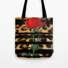 Leopard Print Black Stripes & Intertwining Rose Tote Bag