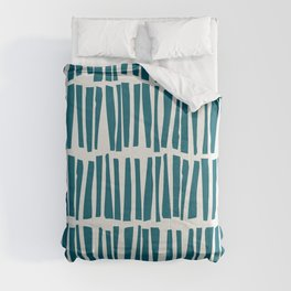 Turquoise Vertical Dash Stripe Line Pattern Sherwin Williams Trending Colors of 2019 Oceanside Dark Aqua Blue SW 6496 on Off White Comforters