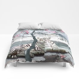 White Tiger And Plum Tree Comforters