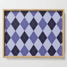 Blue Argyle Pattern Serving Tray