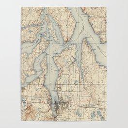 Vintage Map of The Puget Sound (1934) Poster