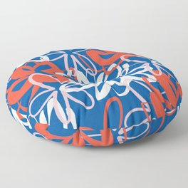 Lotus Garden Painted Floral Pattern in Red, White, Pink, and Blue Floor Pillow