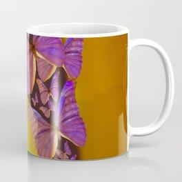 Shiny Purple Butterflies On A Ocher Color Background #decor #society6 Coffee Mug