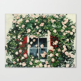 Cat In Window Of Roses Canvas Print