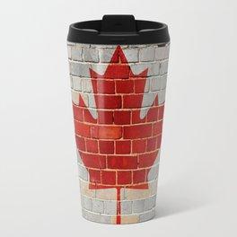 Canada flag on a brick wall Travel Mug