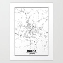 Minimal City Maps - Map Of Brno, Czech Republic. Art Print