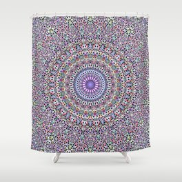 Pastel Jungle Garden Mandala Shower Curtain