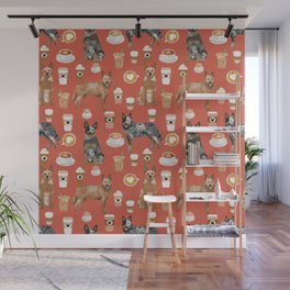 Australian Cattle Dog coffee pet friendly dog breed dog pattern art Wall Mural