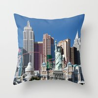las vegas Throw Pillows featuring Las Vegas by Lynn Bolt