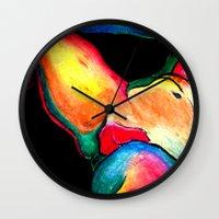 nudes Wall Clocks featuring Nudes: Atlas III by Adam James David Anderson