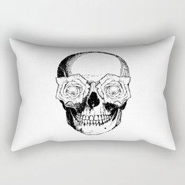 Skull and Roses | Black and White Rectangular Pillow