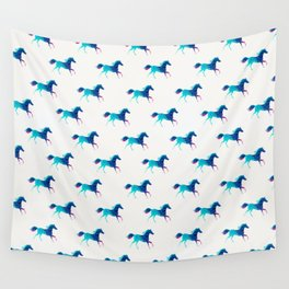 blue horse pattern Wall Tapestry