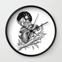 squirrel Wall Clocks featuring SQUIRREL by Thiago Bianchini