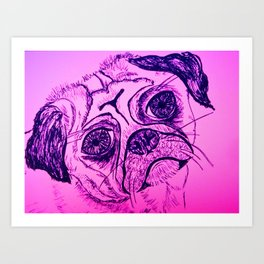 Little pug dog line drawing Art Print