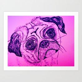 Little pug dog line drawing Art Print