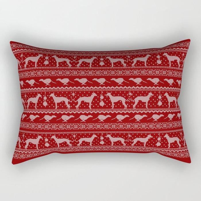 Ugly Christmas sweater | Greyhound / Whippet / Italian greyhound red Rectangular Pillow