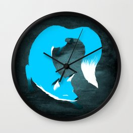 Blue Fox Wall Clock