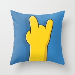 Simpsons Hand - Rock Throw Pillow