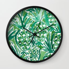 DEM PINEAPPLES Green Tropical Wall Clock